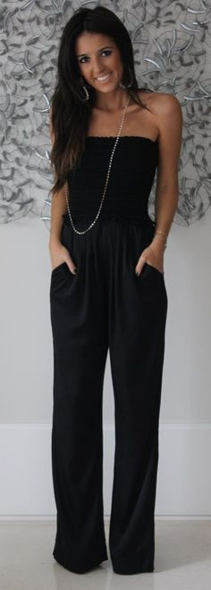 One of the easiest outfit options to have in your closet - a versatile jumpsuit! Throw on this ensemble with some statement jewelry, heels or sandals, or underneath a jacket no matter where you're going! It's the ideal summer to fall/winter transition piece. Where would you wear this style?