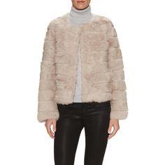 Love Token Love Token Women's Deacon Collarless Ribbed Fur Jacket -... ($249) ❤ liked on Polyvore featuring outerwear, jackets, dark grey, evening jackets, dark grey jacket, fur jacket, ribbed jacket and collarless jacket