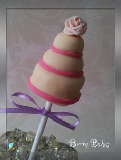 Rose and ribbons wedding cake pop, by Berry Bakes