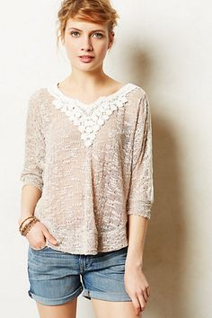lace applique pullover / anthropologie