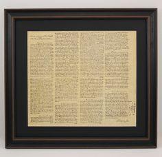 Framed George Washington's Inaugural Address with Black Matte