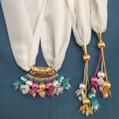 Needle lace, which is one of the most preferred traditional embroidery, continues to be transferred Bold Necklace, Tassel Necklace, Crochet Necklace, Embroidery On Clothes, Hand Embroidery, Coral Scarf, Saree Tassels, Knit Shoes, Diy Scarf