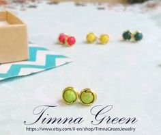 Light green and Gold Stud Earings 6 mm beads by TimnaGreenJewelry