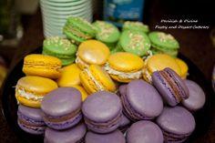 Mardi Gras-colored French macarons; Lemon/White Chocolate/Coconut, Pretzel Salted Caramel & traditional Chocolate