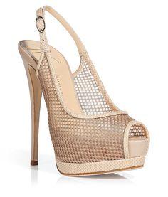 Giuseppe #Zanotti, Nude high heel platform sling backs