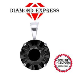 """1/60 ct Black Real Natural Diamond 14K Gold Solitaire Pendant with 18"""" Chain Necklace """""""". Starting at $29"""