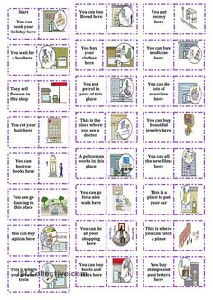 places in town dominoes - English ESL Worksheets English Worksheets For Kids, English Games, English Resources, English Activities, English Lessons, Learn English, Esl Resources, Dominoes For Kids, English Exercises
