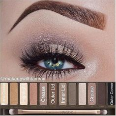 Color placement using the urban decay cosmetics naked 2 palette <--- don't like the brows but the shadow looks nice!