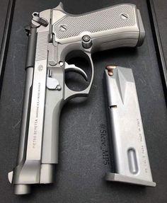 Beretta 92 FS in Stainless Steel? Weapons Guns, Guns And Ammo, Armas Wallpaper, Beretta 92, 9mm Pistol, Revolvers, Shooting Guns, Custom Guns, Home Defense