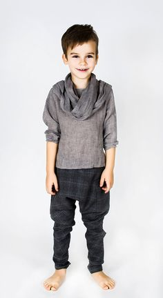 Boys Grey Linen Shirts with scarf for boys / Cool Top by FancyFlax, $46.00
