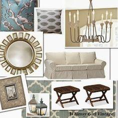 whimsy girl: E-Design Services coastal living room design board, neutral living area