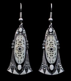 THEODOR FAHRNER Art Deco Earrings  Silver Ivory H: 6.3 cm (2.48 in)  W: 2.1 cm (0.83 in)  Marks: TF monogam Sterling Germany German, c,1920