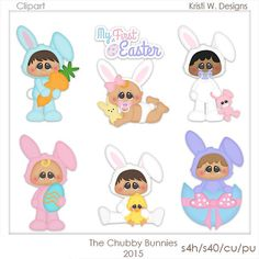 DIGITAL SCRAPBOOKING CLIPART  The Chubbie Bunnies by BoxerScraps