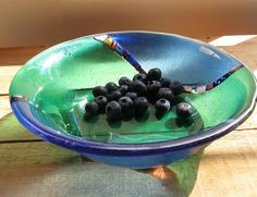 Crazy Quilt Bowl 2 strip closeup w blue berries by bethblindbrown, via Flickr