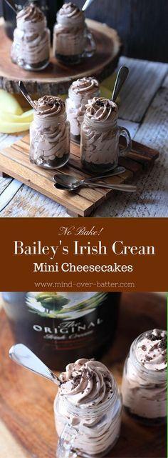No Bake Bailey's Irish Cream Mini Cheesecakes