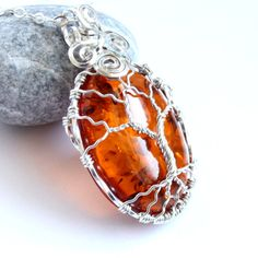 Amber Tree of Life Necklace - Wire Wrapped Pendant - Silver Tree - Celtic Elven Elvish Elegant - Luminous Glowing Orange Amber