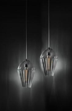 Alba Pair - Suspension - Pure crystal - Design Lamp by ILIDE