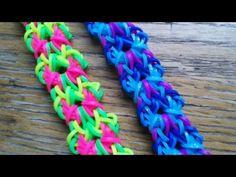 This is a hooked design. No loom needed. Rainbow Loom Tutorials, Rainbow Loom Patterns, Rainbow Loom Creations, Loom Band Bracelets, Loom Bracelet Patterns, Rainbow Loom Bands, Rainbow Loom Bracelets, Monster Tail Loom, Wonder Loom