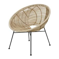 This beautiful HKliving rattan lounge chair is a real eyecatcher! The chair is made of natural rattan and black metal. Wonderful to combine with the other items from the new HKliving collection. Chaise Ikea, Ikea Chair, Diy Chair, Swivel Chair, Papasan Chair, Chair Cushions, Living Room Chairs, Dining Chairs, Lounge Chairs