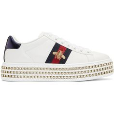 Gucci White Crystal New Ace Platform Sneakers (4,405 SAR) ❤ liked on Polyvore featuring shoes, sneakers, white, gucci sneakers, low top platform sneakers, white shoes, embroidered sneakers and white trainers