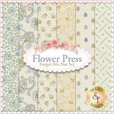 Flower Press 6 FQ Set - Forget-Me-Not Set by Renee Nanneman for Andover Fabrics : Flower Press is a collection by Renee Nanneman for Andover Fabrics. 100% Cotton. This set contains 6 fat quarters, each measuring approximately 18