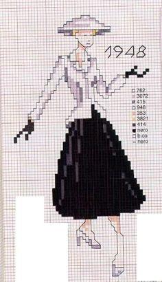 0 point de croix femme en noir et blanc en 1948 - cross stitch lady in black and white in 1948