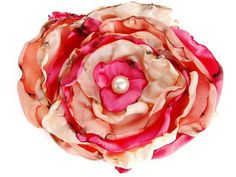 Coral, Peach & Light Peach Flower, Wedding flower, Hair Clip, Pin Brooch, Applique, Boho flower, Country Western #weddings #boebot