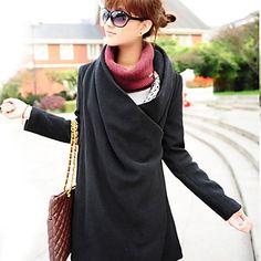 bidireccional abrigo dobladillo asimétrico de las mujeres - USD $ 33.59