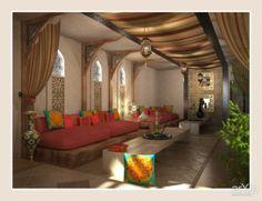 Восточные мотивы лаундж зоны коттеджа: интерьер, зd визуализация, восточный, марокканский стиль, веранда, беседка, потолок, 10 - 20 м2, беседка, шатер, ландшафт #interiordesign #3dvisualization #moroccan #lanai #gazebo #ceiling #10_20m2 #gazebotent #landscape arXip.com