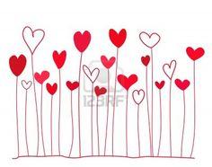 Funny cuori rossi su steli doodle. illustrazione Archivio Fotografico - 12119489