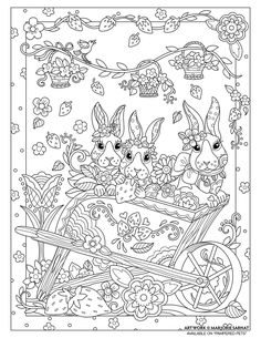 Bunny Wagon, free coloring page from marjorie sarnat  -easter - pascoa para colorir