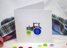 Tractor Card with Button Wheels - Handmade, Paper Cut Greeting Card - Farm on Etsy, £3.95