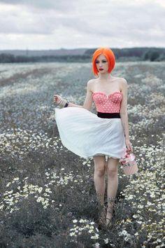 hair, hair color, orange hair, orange, fashion, clothes, clothing, tops, skirts, bottoms, white, pink, patterns, polka dots