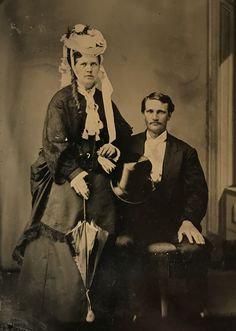 "Celia Ann ""Mattie"" Blaylock and Wyatt Earp on a 1/4 plate tin. Original image from the collection of P. W. Butler."