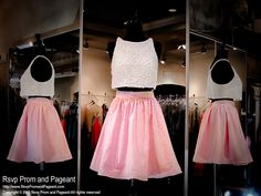This pretty two-piece short dress has a pink embossed skirt and a crop top completely covered with pearls. Absolutely adorable and it's at Rsvp Prom and Pageant, Atlanta Prom Dresses!