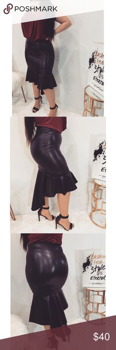 Black High Low Skirt Sexy black high low skirt. Top, choker, and shoes also for sale in my closet.    ✖️View this item and many more on my website for less!   ✖️Website: www.styledcity.com   Follow Me on Instagram!   ✖️Instagram: Styled.City   ✖️Bundle and save 10%! Skirts High Low