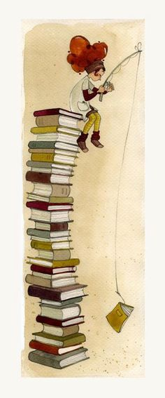 Cute illustration f girl on top of books. WI wonder who the artist is. I Love Books, Books To Read, My Books, Reading Art, I Love Reading, Foto Gif, World Of Books, Book Nooks, Library Books