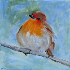 Contemporary Bird Painting of a Christmas Robin or English Robin $85.00