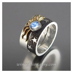 SOLAR ECLIPSE Sun and Moon Engagement Ring and Wedding Band ❤ liked on Polyvore… #JewelryRings