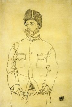 Egon Schiele: Russian Prisoner of War with Fur Hat, 1915 (Private Collection)