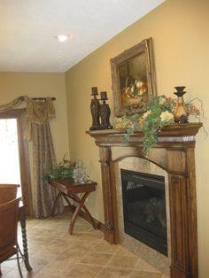 Custom wood and granite fireplace surround