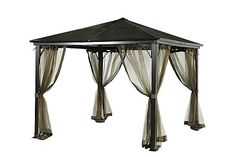 This Birmingham PC Hard Top Gazebo features a powder-coated steel frame in a beautiful dark brown hue, a hard top roof and mosquito netting (for keeping pesky bugs out).