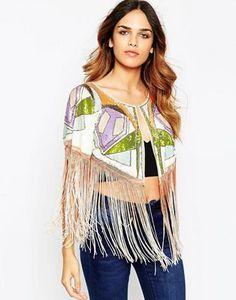 ASOS Sequin Cape In Bright Pattern & Dip Dye Fringing