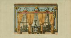 EKDuncan - My Fanciful Muse: Regency Furniture 1816 Ackermann's Repository Series 2 Regency Furniture, Empire, Thing 1, Interior Rendering, Theatre Design, Regency Era, Window Styles, Window Dressings, Drawing Room