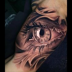 Portrait Eye realistic tattoo on his Arm. And also Beautiful Arm sleeve Black and gray Tattoo. #BlackAndGray #Blackwork #ArmSleeve #RealisticEyeTattoo #PotraitEye Arm Sleeve Tattoos For Women, Best Tattoos For Women, Cool Arm Tattoos, Best Sleeve Tattoos, Badass Tattoos, Tattoo Sleeve Designs, Black Tattoos, Back Of Thigh Tattoo Women, Women Thigh Tattoos