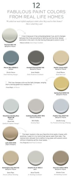 Paint Color Ideas. Paint Color and Color Palette Ideas for Real Homes. #ColorPalette #PaintColorIdeas Via How To Decorate.