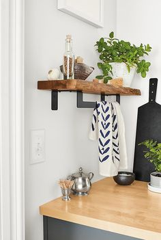 Room & Board - Stowe Wall Shelves with Graphite Towel Rack - Modern Bath Towel Bars & Racks - Modern Bath Furniture Solid Wood Shelves, Rustic Shelves, Wood Shelf, Narrow Wall Shelf, Modern Storage Furniture, Kitchen Furniture, Entryway Furniture, Modern Room, Modern Wall