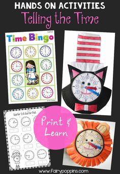 Telling the time activities. Includes clock craft templates,bingo game and worksheets. Times focus on o'clock, half past, quarter past and quarter to ~ Fairy Poppins