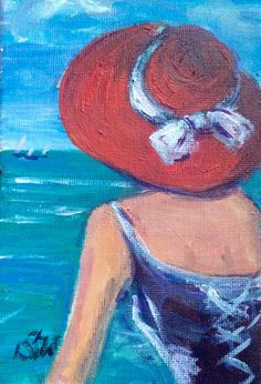 Woman in Red Hat Painting Woman on a Beach original art 4 x Gouache Painting, Painting Frames, Original Art, Original Paintings, Art Deco Paintings, Red Hat Ladies, Ship Drawing, Panel Art, Beach Scenes