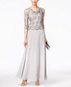 J Kara Embellished Cowl-Neck Gown